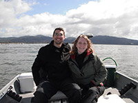 Jason and Katie Crabbing at the Mouth of The Columbia River in 16' Klamath Alaskan Boat
