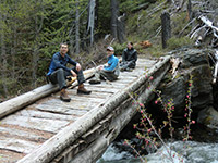 Jason, Matt, and Kara on a Bridge Over Badger Creek