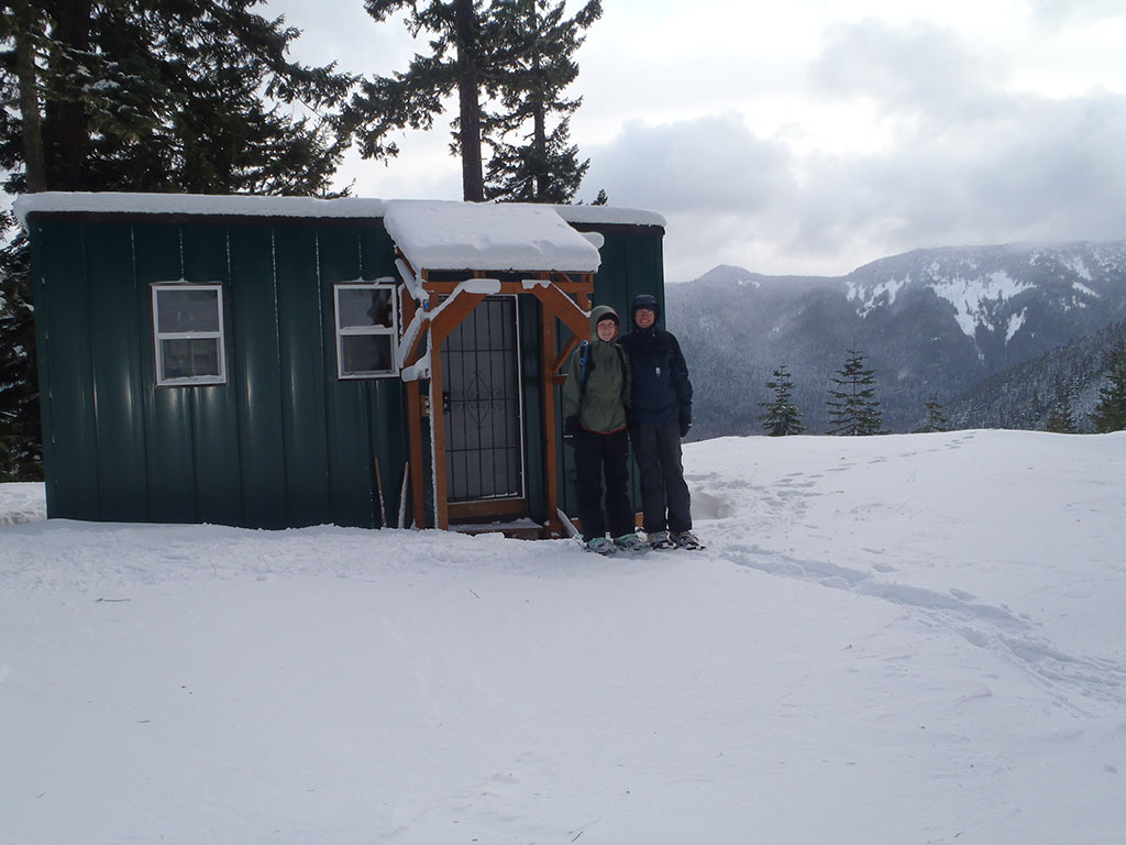 Katie and Jason in front of Barlow Butte Hut