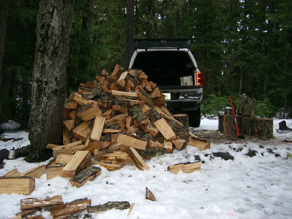 Large Pile of Split Firewood