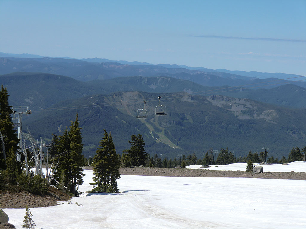 Chairlift on Mount Hood Looking Down Towards Ski Bowl