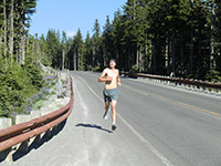 Jason Running to Government Camp from Timberline Lodge on Mount Hood