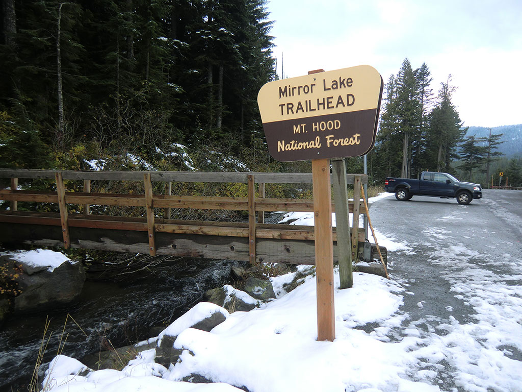 Empty Parking Lot at Mirror Lake Trailhead