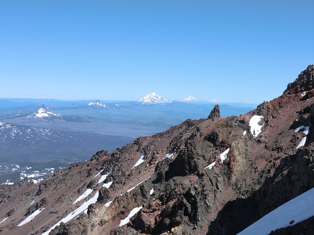 From Left to Right: Mount Washington, Three Fingered Jack, Mount Jefferson, Mount Hood, Mount Adams