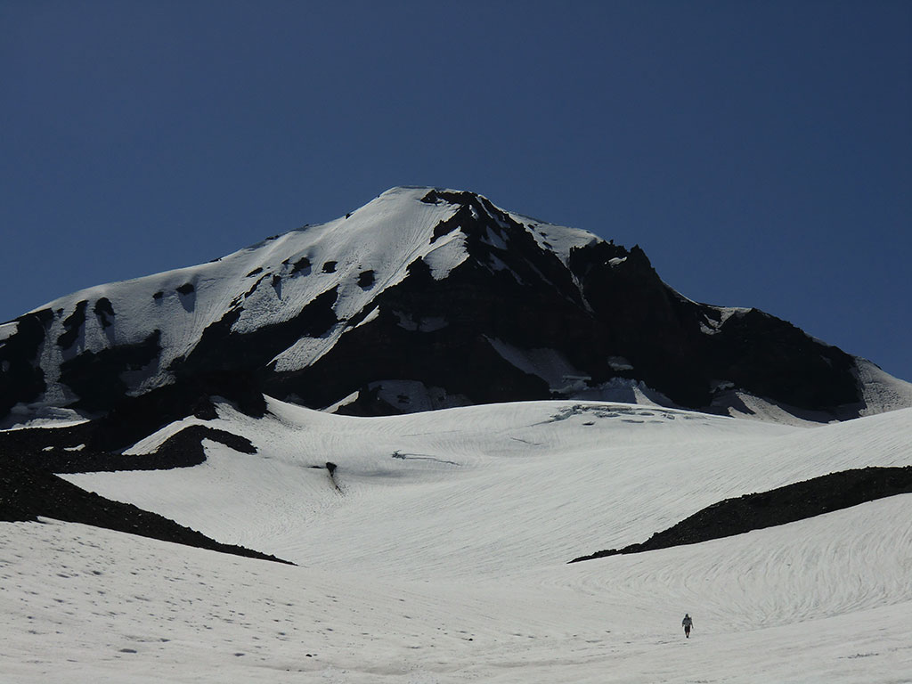 Hiking Down the Hayden Glacier with Middle Sister in the Background