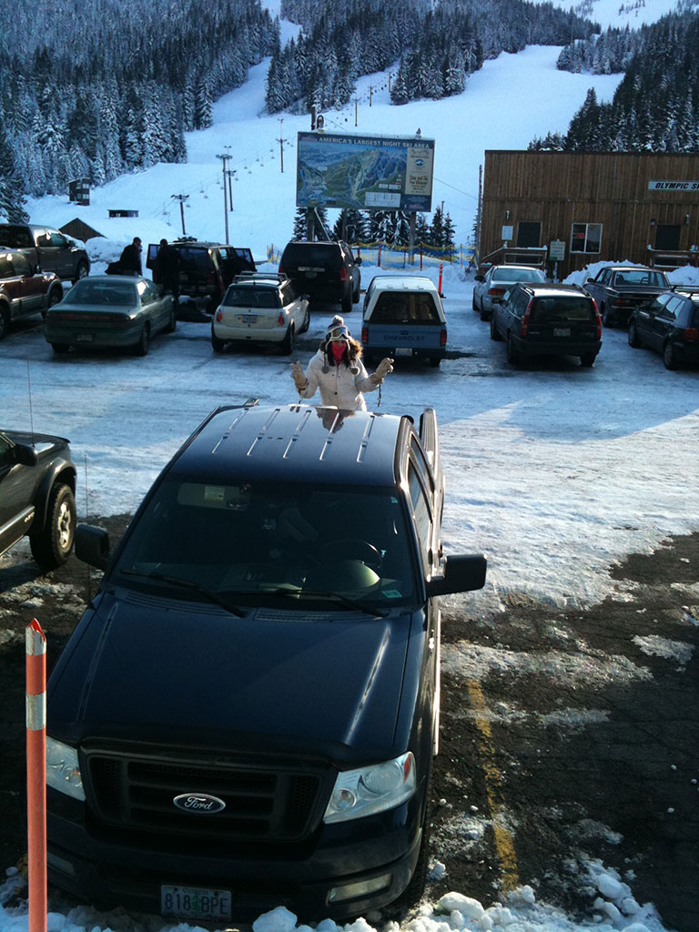 Jessica in Back of Truck at Skibowl