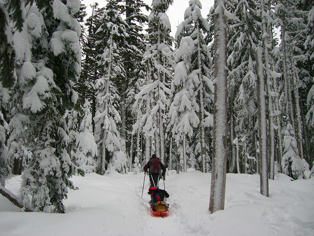 Jason Pulling Pulk Sled to Twin Lakes