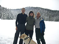 Jason, Katie, Grandpa, and Bella in front of Lower Twin Lake