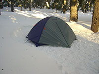 Eureka Tent in Snow at Lower Twin Lake, Oregon