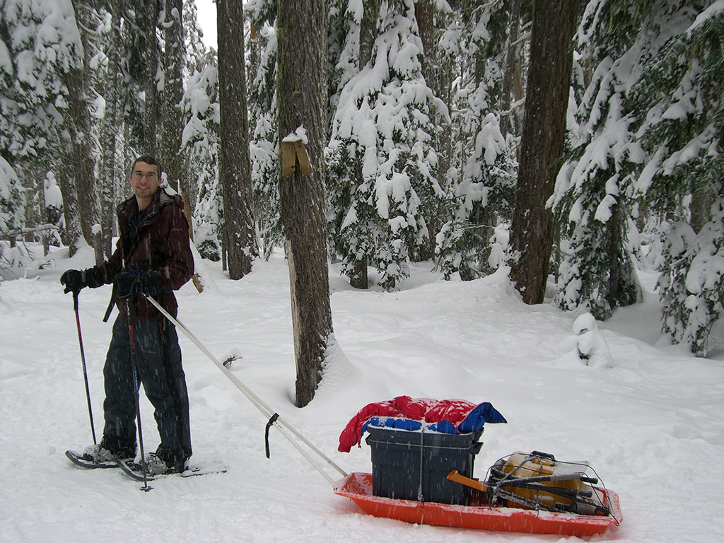Jason Pulling Gear Sled Home from Twin Lakes