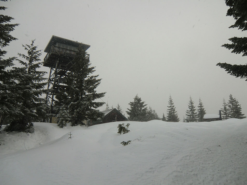 Clear Lake Lookout Tower (left), Wood Shed (middle), Outhouse (right)