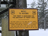 Forest Fire Lookout Sign