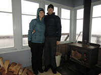 Katie and Jason inside Clear Lake Lookout