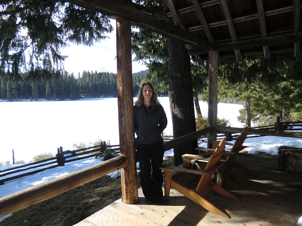 Katie on the Hall House Porch with Fish Lake in the Background