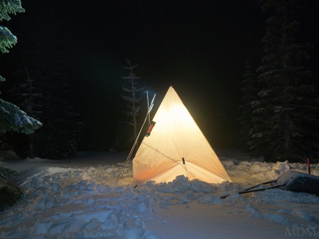 Hot Tent at Night (Photo by u0027Wateru0027 aka Matt) ... & Hot Tent Snow Camping Near Surprise Lakes Washington | Loomis ...