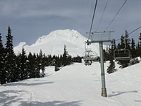 Jeff Flood Chairlift with Mt Hood in the Background