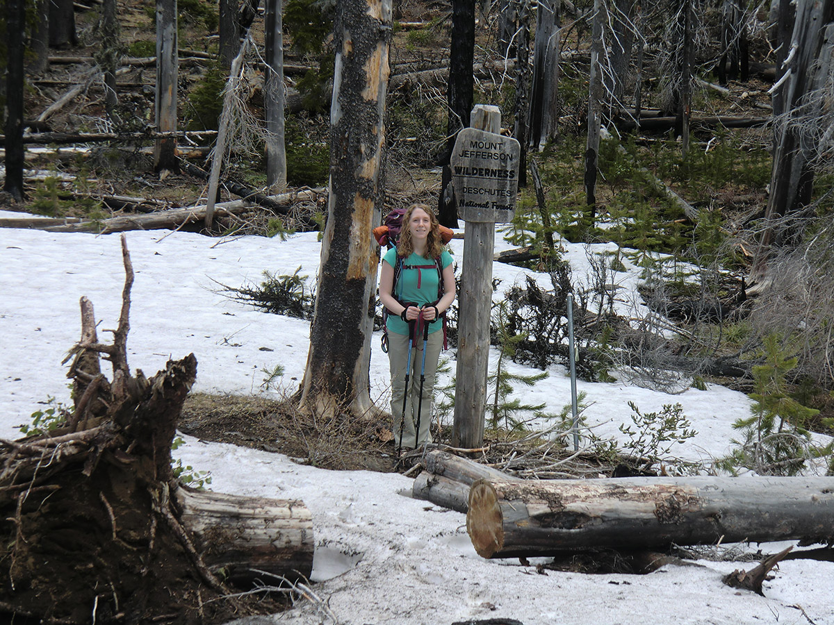 Katie at Mt Jefferson Wilderness Boundary near Square Lake