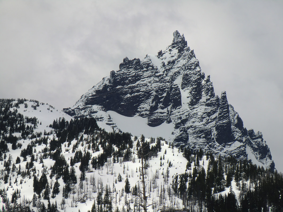 Close up of Three Fingered Jack with Fresh Snow on the Peak