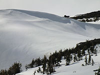 Ski Tracks Below Cornices