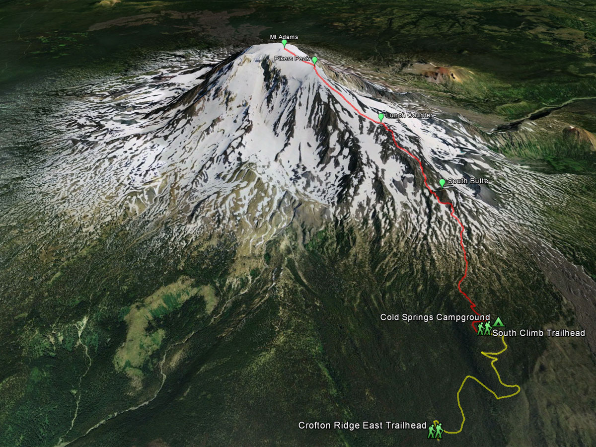 Mt Adams South Climb Route