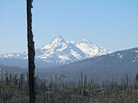 Closeup of The Three Sisters - South Sister, Middle Sister, and North Sister (front to back/left to right)