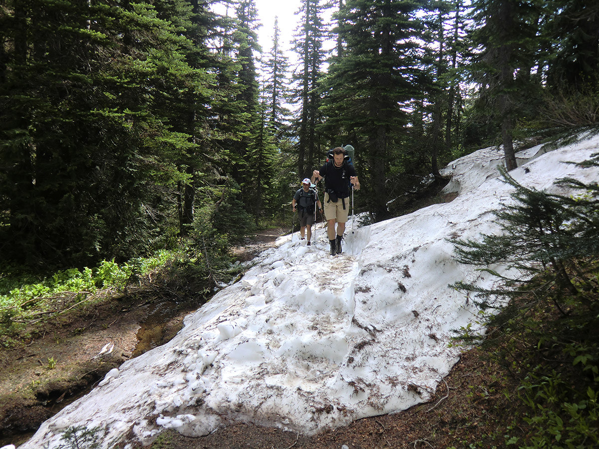 Louis and Matt Hiking over Snow Patch