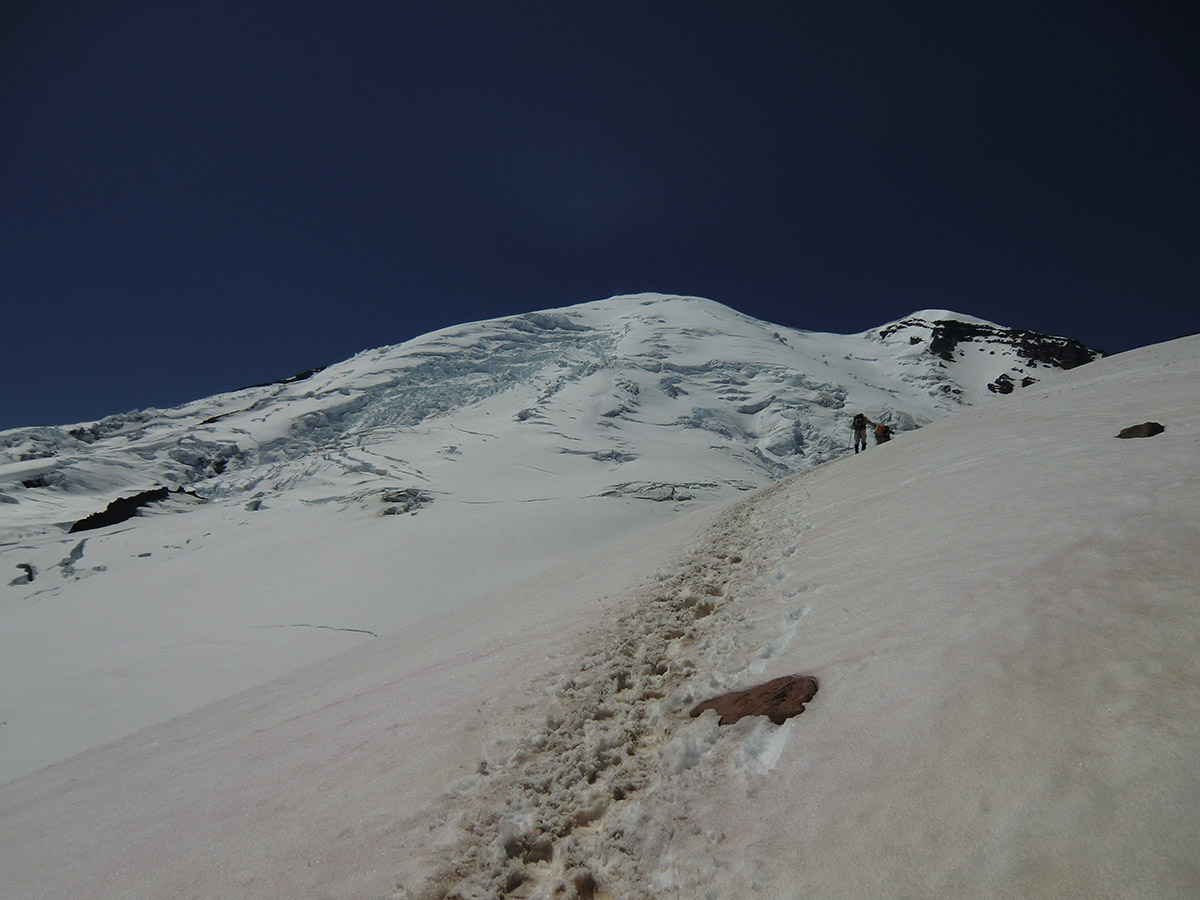 Traversing Edge of Emmons Glacier Towards Camp Schurman