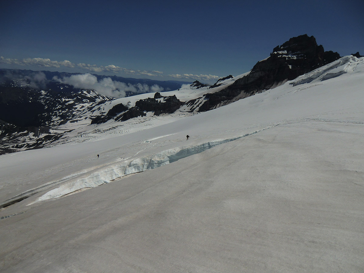 Louis and Matt Climbing up the Emmons Glacier to Camp Schurman