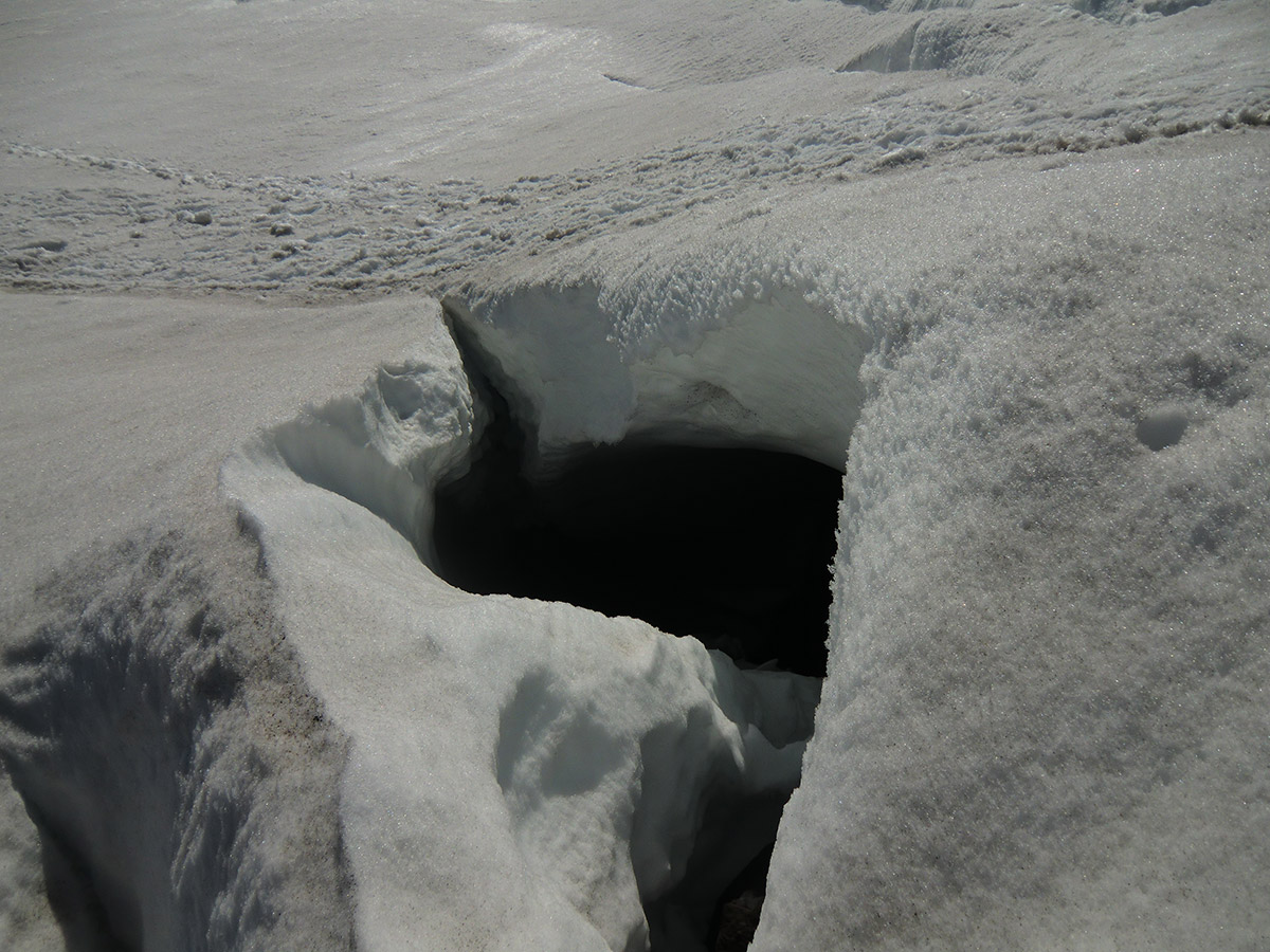 Footsteps Along the Edge of a Large Crevasse