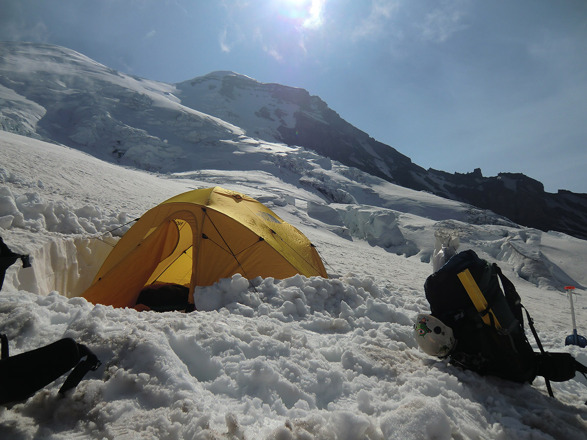 Our Tent Dug into the Side of Winthrop Glacier at Camp Schurman on Mt Rainier
