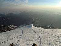 Looking Down Mt Rainier While Resting a Couple Thousand Feet Below the Summit