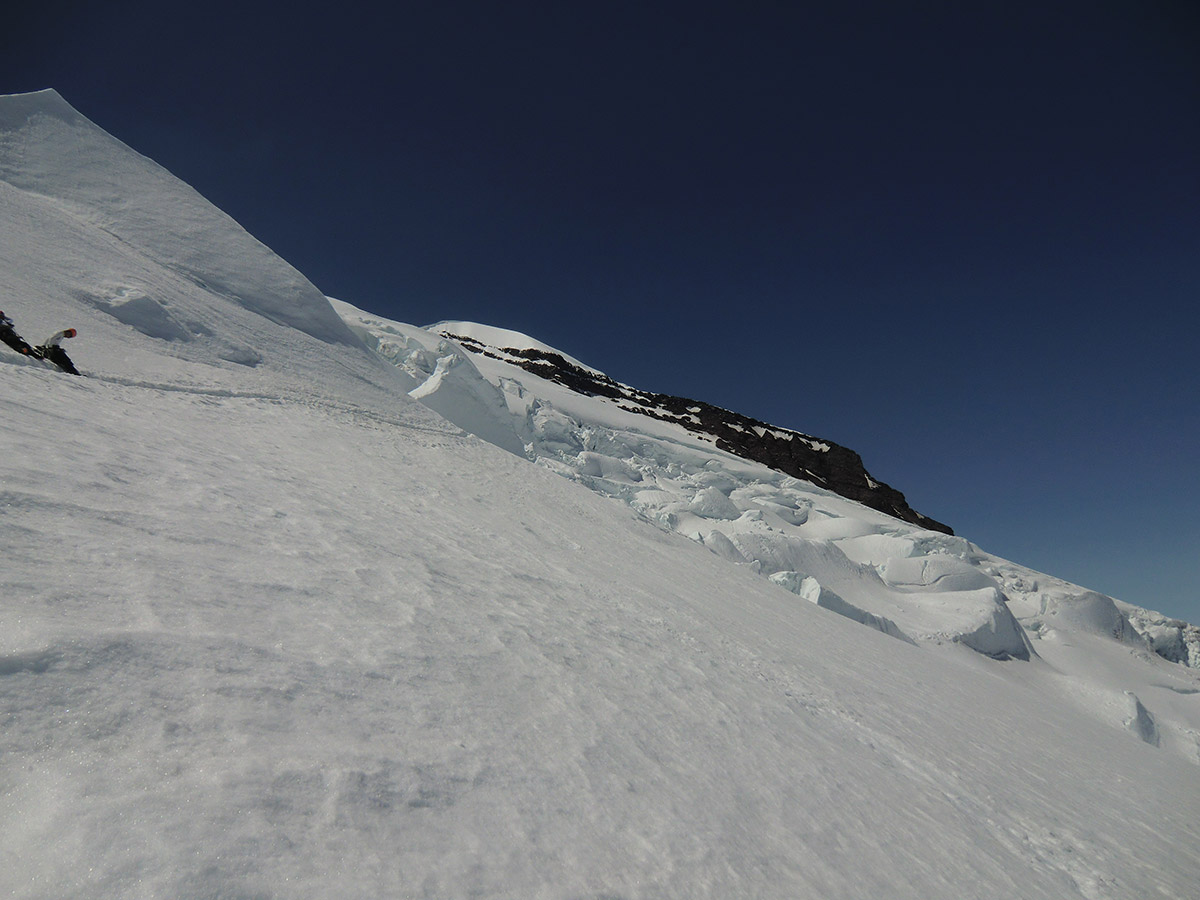 Looking Back at the Traverse through Many Seracs and Crevasses