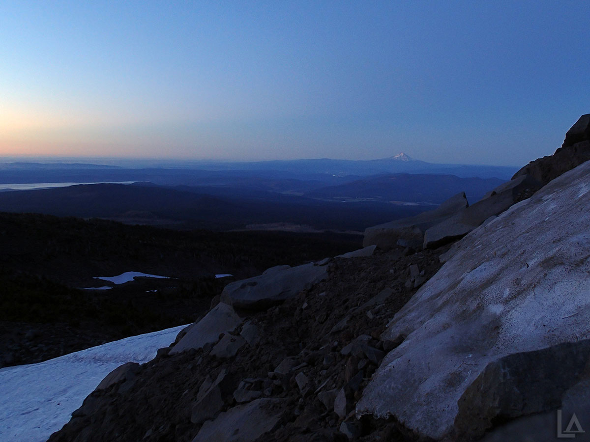 Just Before Sunrise about 7,400' up Mt Adams with Mt Hood in the Background