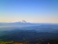 Closeup of Mt Hood, Mt Jefferson, and Three Sisters