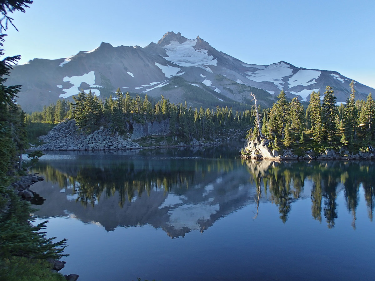 Mt Jefferson Reflected on Bays Lake at Sunrise