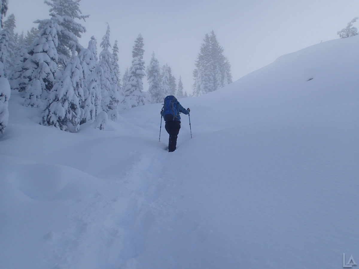Katie Breaking Trail through 2-3 Feet of Fresh Snow