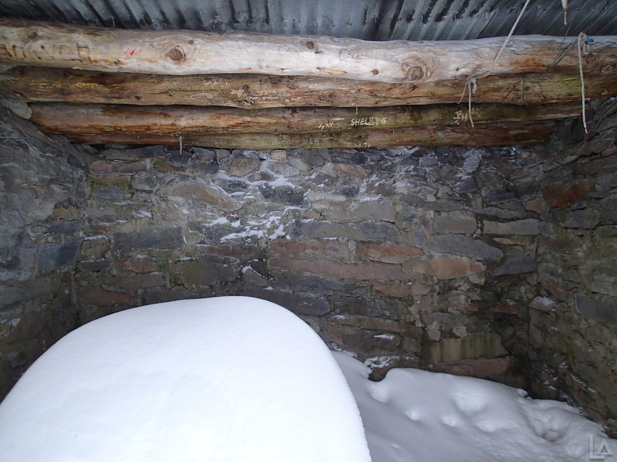 Snow Inside McNeil Point Shelter