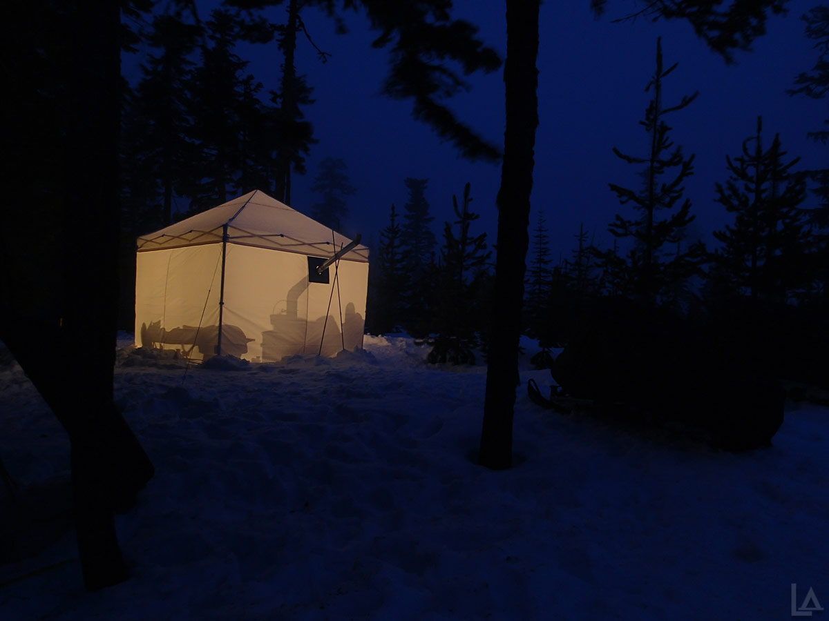 Glowing Tent At Night Snow Camping