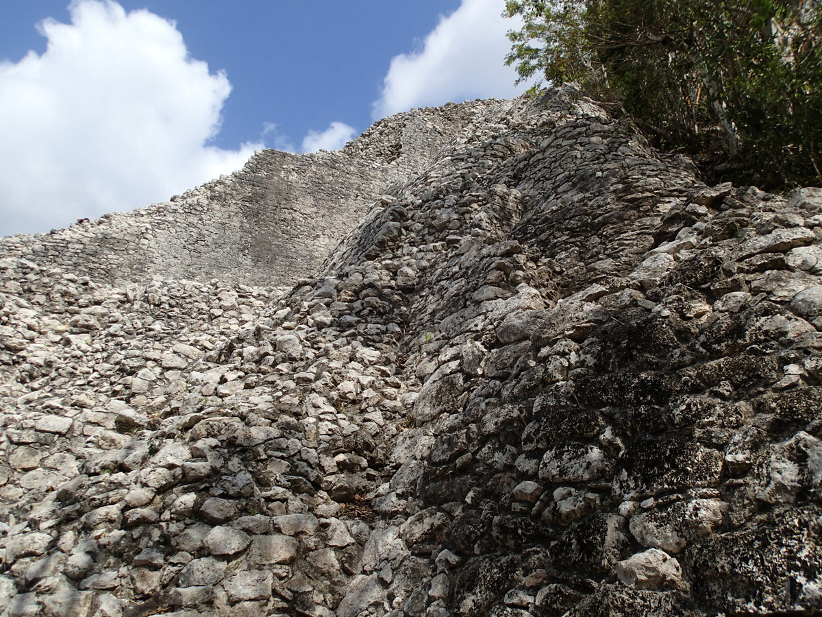 Looking up the Side of Nohoch Mul Pyramid
