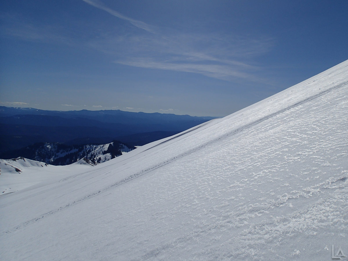 Snowmobile Track up the Side of Mt Saint Helens
