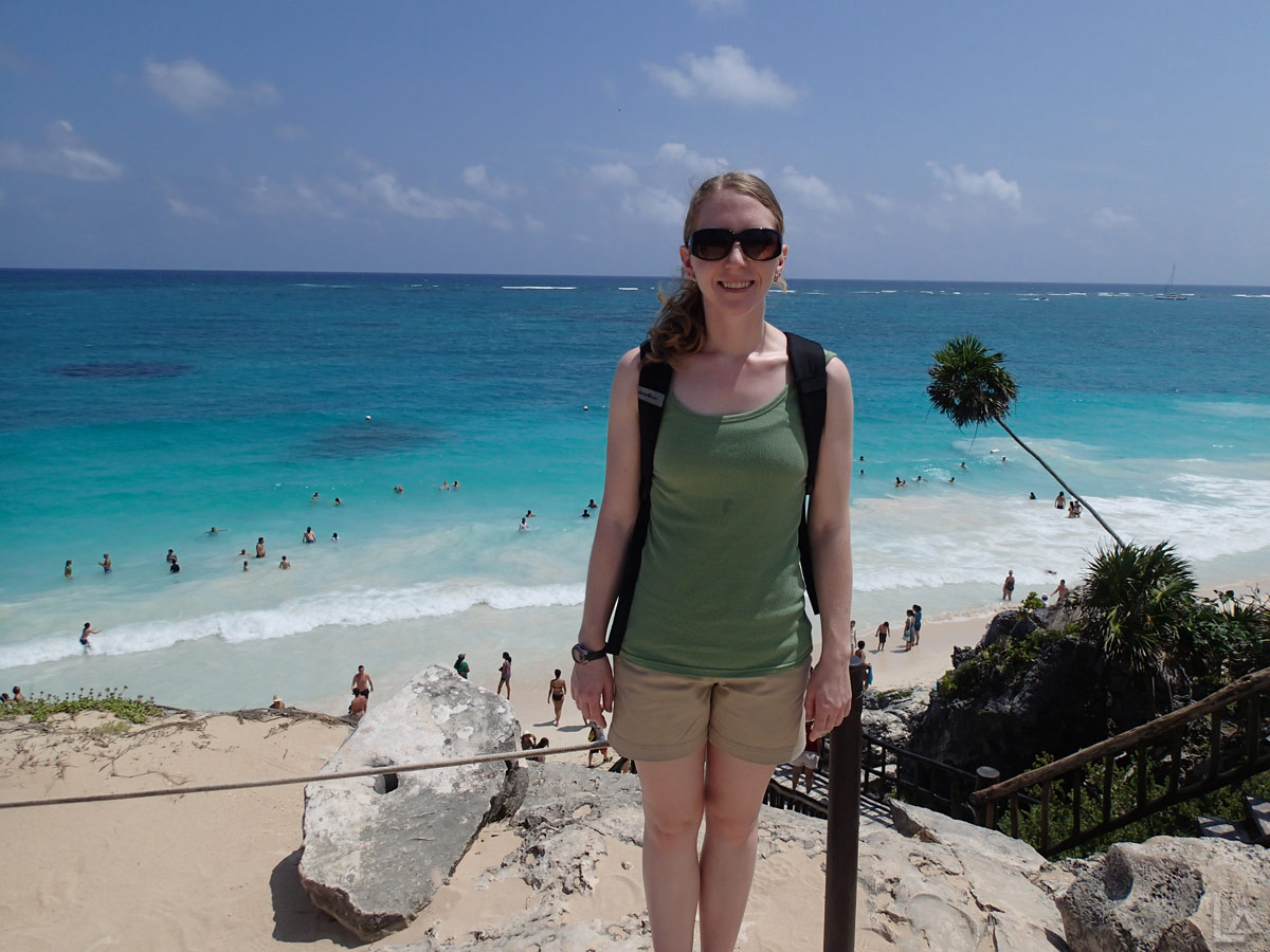 Katie Overlooking the Public Beach at Tulum Ruins
