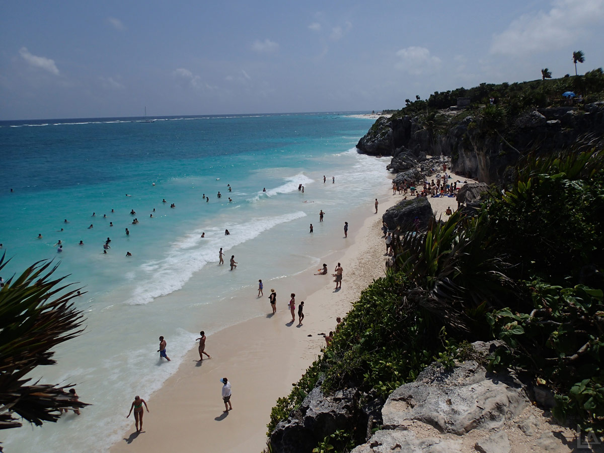 Popular Public Beach at Tulum Ruins