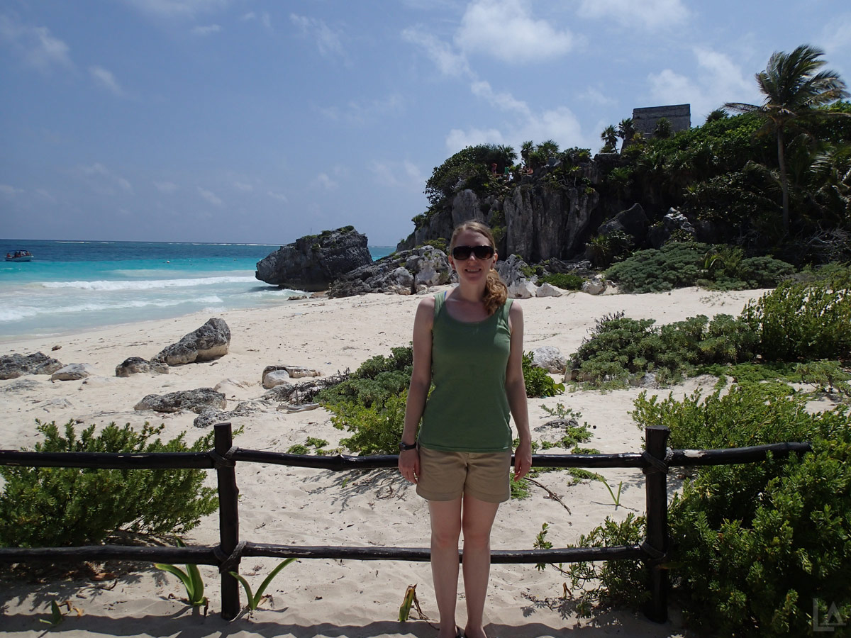 Katie with Tulum Ruins in the Background