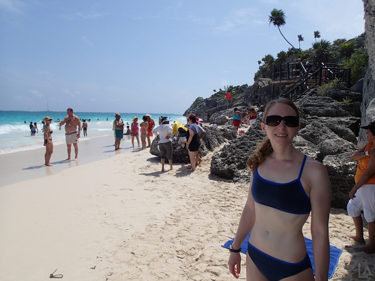 Katie Enjoying the Public Beach at Tulum Ruins