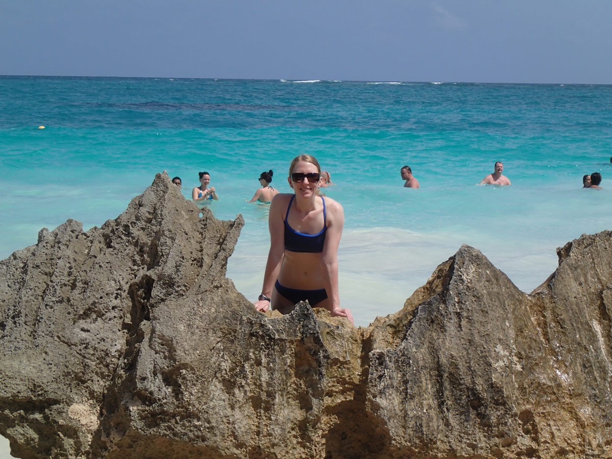 Katie Enjoying the Blue Waters of the Caribbean Sea