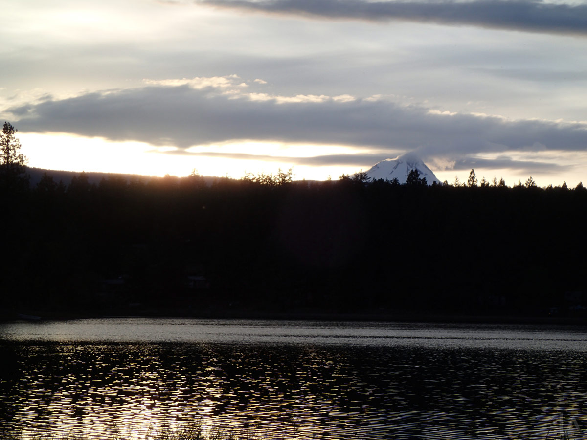 Rock Creek Reservoir at Sunset with Mt Hood in the Background