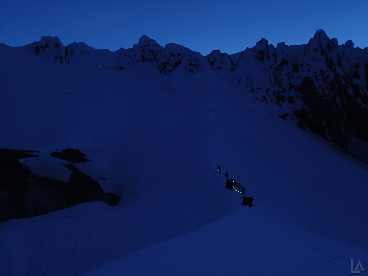 Climbers on the Hogsback and Old Chute Before Sunrise