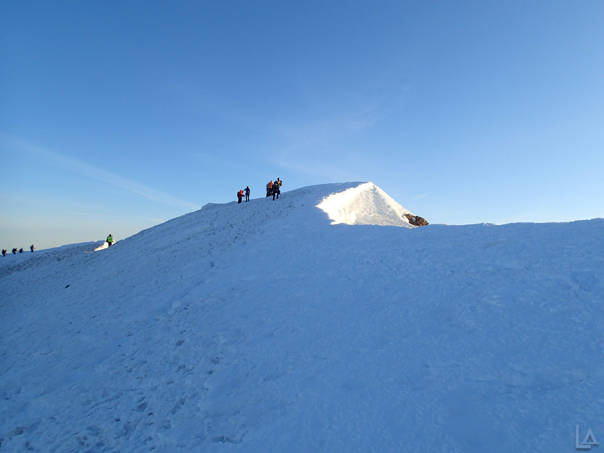 Lots of Climbers on the Summit of Mt Hood