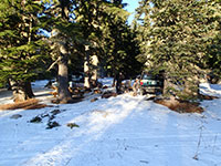 Snow in our campsite at Bonney Meadows Campground