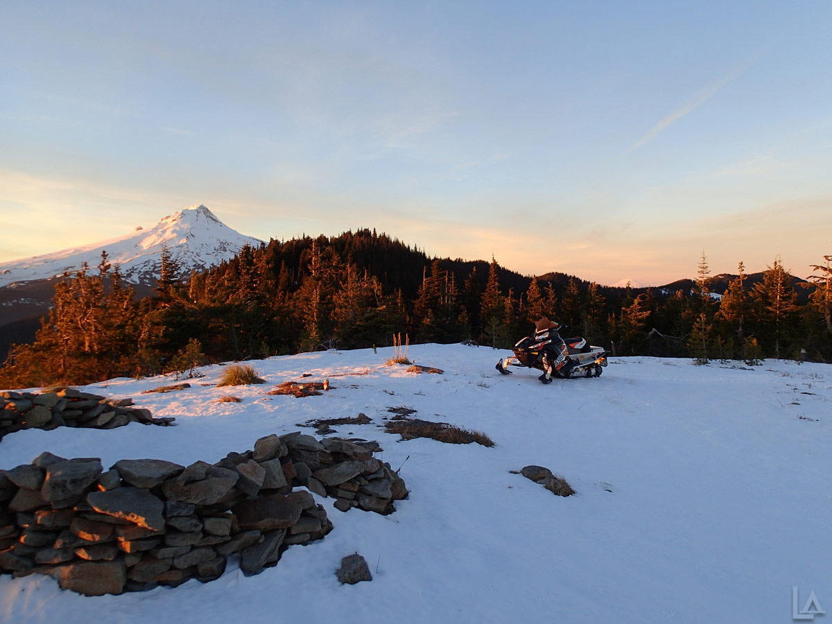 Bonney Butte at sunset with Mt Hood in the background